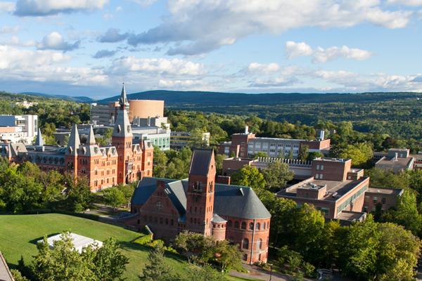 aerial photo of Cornell's campus